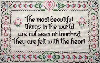 Beautiful Things Felt with the Heart Finished Cross Stitch