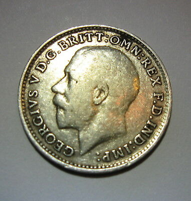 1918 SILVER THREEPENCE, UK, GREAT BRITAIN, King George V,  .925 STERLING No2