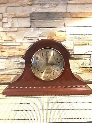 Vintage Elgin Mahogany Finish Quartz Mantle Clock With Westminster Chime