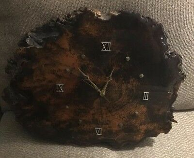 Vintage 1984 Redwood Burl Wood Slice Slab Handmade Lacquered Wall Clock