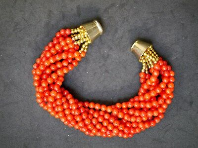 Vintage Chinese 10-Strand Coral Bracelet W/ Gold-Plated Beads & Magnetic Clasp