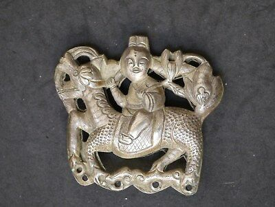 Antique Chinese Qing Dynasty Solid Silver Qilin Or Kylin, Double-Sided