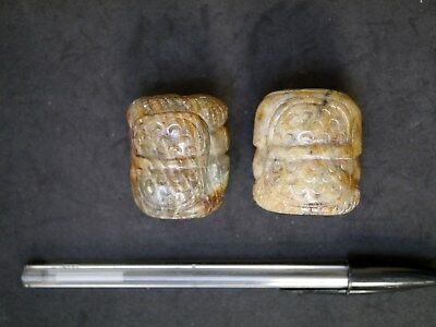 2 Very Large Vintage Chinese Carved Hardstone Wise Men Beads, 40Mm X 35Mm