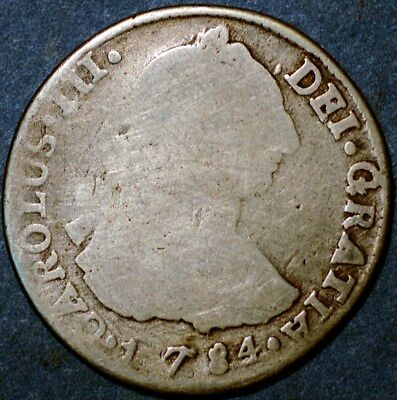 Spain 2 Reales 1784 Karl III Potosi Bolivia Mint Silver