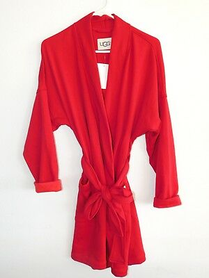 3a219157cc New Nwt Womens Large Lipstick Red Ugg Australia Braelyn Fleece Short Wrap  Robe