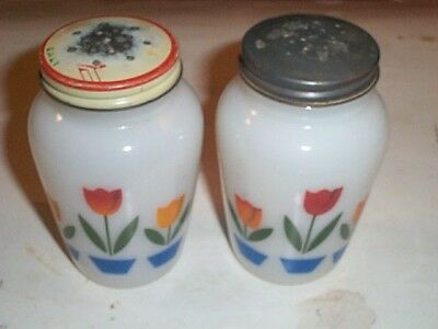 Vintage 1950's Glass Fire King Tulip Salt and Pepper Set--Very Colorful