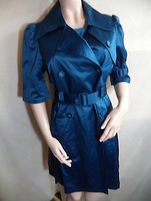 Elle Raincoat Aqua Satiny Poly/Cotton 3/4 Sleeves Double Breasted Womans M VGC