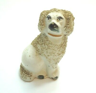 """Antique Staffordshire Ware England Spaniel Or Poodle Dog With Spaghetti 3 1/2"""""""