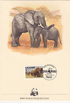 Uganda 1983 Elephant Conservation WWF Card FDC Mint Condition