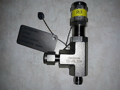 SWAGELOK SS-RL3S4  Stainless Steel, Pressure Proportional Relief Valve 1/4in