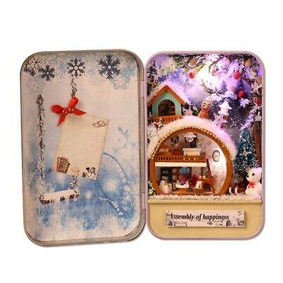 Snow Holiday 3D Wooden Diy Handmade Box Secret Dollhouse Miniature Box Cute U7R9