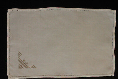 Vintage cream tray cloth with taupe machine embroidery.