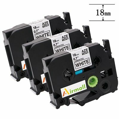 TZe241 TZ241 Label Tapes Black on White P-Touch Compatible for Brother 18mm 3pk