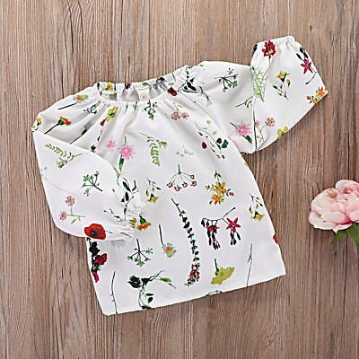 Cotton Soft Summer Playsuit Flower Printed Baby Clothes Floral Top Long Sleeve