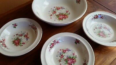Vintage Royal Harvey Large Serving Bowl and Three Smaller Bowls Floral Pattern