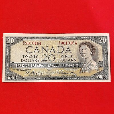 1954 - Canadian - Twenty dollar bill - ZE 9610164 - $20 Bank note - Ottawa 1954