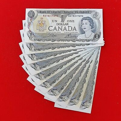 1973 - Canada - One dollar bills - $1 notes - Ottawa - Lot of 10 - Uncirculated!