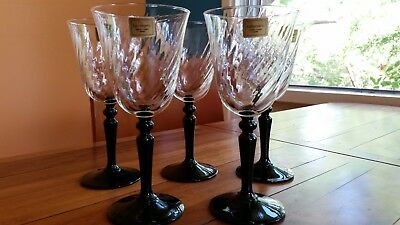 Five Luminarc of France Black Stemmed Wine Glasses