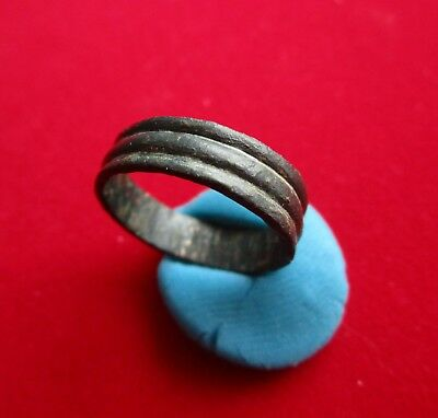 Ancient Celtic  bronze weeding band - ring . Decorated with 3 stripe's . 15 mm