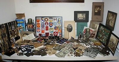 Premo Junk Drawer Lot Jewelry Military Antique Photos Tin Types Sterling Silver