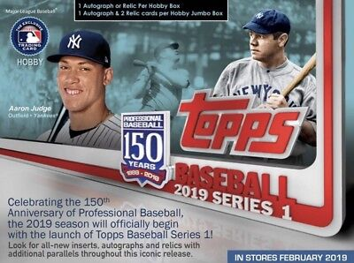 2019 Topps Baseball Series 1 Hobby Case 12 Box + 12 Silver Packs Clean