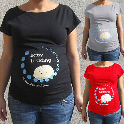 Women Pregnant Cute Baby Printed Plus Size Funny T-Shirt Maternity Lady Tops