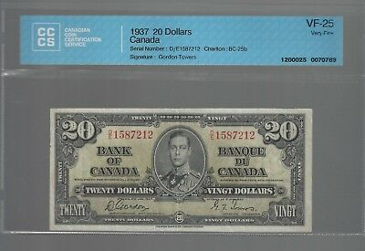 Bank of Canada 1937 $20 BC-25b CCCS VF-25 UNDER-GRADED