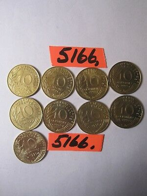 9 x  10 centimes coins  France '90's era   18    gms      Mar5166