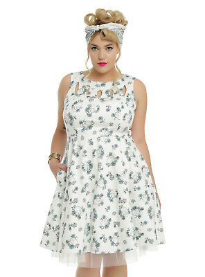HOT TOPIC RETRO Chic White Skull & Floral Plus Size Dress W/ Tulle, Nwt