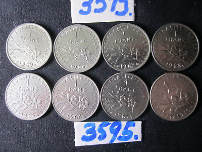 8 x  coins Francs 60's era   France      48  gms      Mar3595