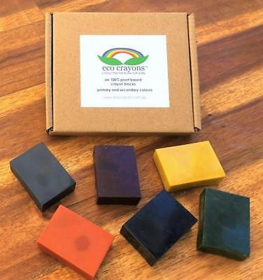 NEW ECO Crayons Blocks Baby Safe Non Toxic Toddlers Organic Soy Box of 6 Colours