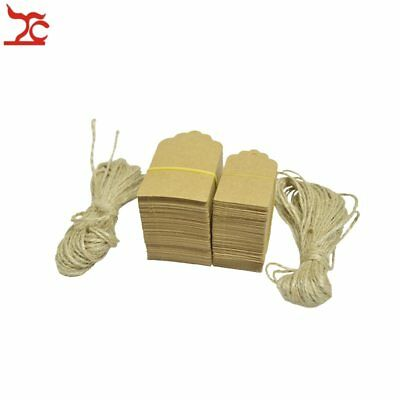 100Pcs Kraft Paper Tags Luggage Label Jute String DIY Blank Travel Gift Hang Tag