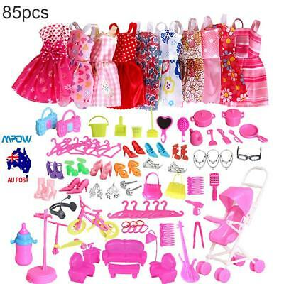 Outfits Clothes Set 85pcs 10 Pack Clothes & 75Pcs Accessories For Barbie Dolls