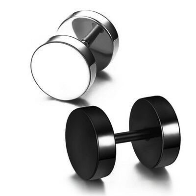 1pc Men Women Round 316 Surgical Titanium  Steel dumbbell Ear Studs Earrings