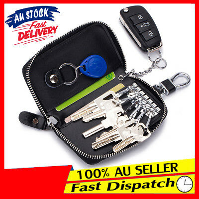 Unisex Car Stock Bag Wallet Key Holder Leather Pouch Ring Case AU Keychains