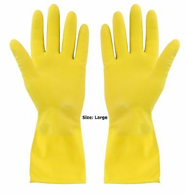 Yellow Rubber Gloves Large Non-Slip Grip Domestic & Garden