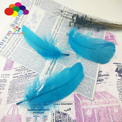 100 Pcs Goose feathers lake blue 15-20Cm/6-8 Inch Diy Stage Props Decor Headress