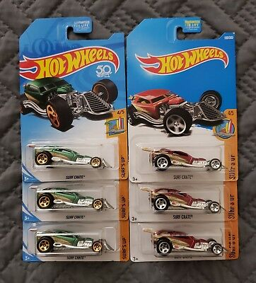 Lot of 6 Hot Wheels Kmart Exclusive FKC00 Surf's Up 4/5 SURF CRATE Green