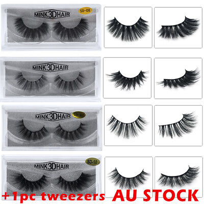 3D Mink Natural Thick False Fake Eyelashes Handmade Lashes Makeup Extension AU