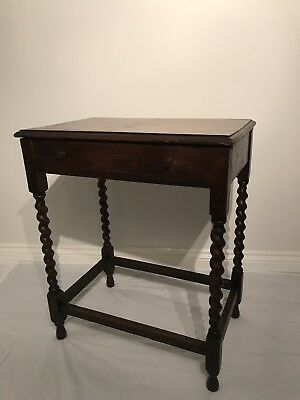 Antique Oak Table With Barley Twist Legs Occasional