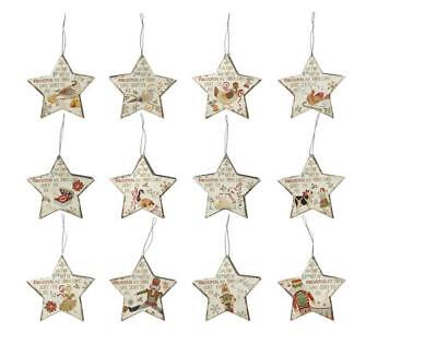 12 Piece 12 Days Of Christmas Star Shaped Metal Ornament Set White Red Brown