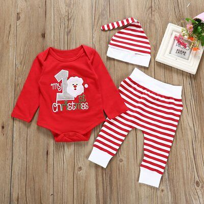 3pcs Baby Boy Girl Christmas Romper Jumpsuit Tops Pants Hat Outfits Clothes Set