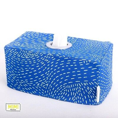 Modern Handmade Tissue Box Cover Nursery Bathroom BLUE COASTAL GEOMETRIC WAVES