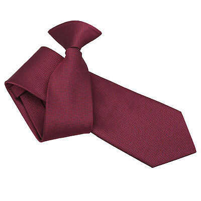 DQT Woven Plain Solid Check Burgundy Formal Work Slim Clip On Tie