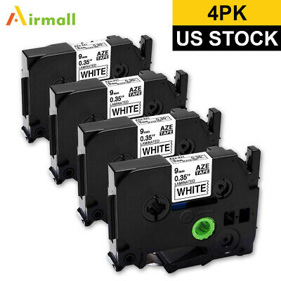 "Black on White Label Tapes Compatible for Brother TZe-221 P-Touch 9mm 3/8"" 4PK"