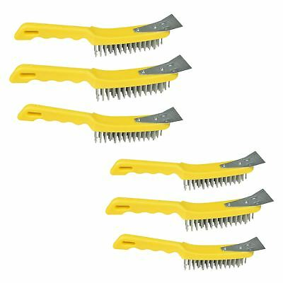 6 Wire Cleaning Brush 5 Row Steel Bristles with Plastic Handle and End Scarper