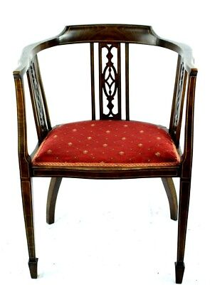 Antique Edwardian Inlaid Mahogany Tub Chair - FREE Shipping [PL4830]