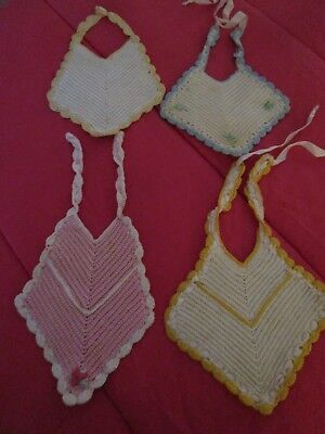 4 Vintage Hand Crocheted Baby Bibs 40s Flower Pink Yellow Blue Good Used Cond.