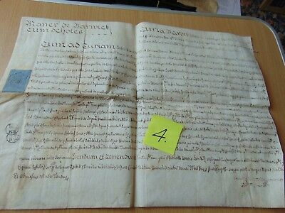 Ink Dip Pen Deed Indenture Manuscript 1728 Maner De Barwick Cum Scholes Latin?