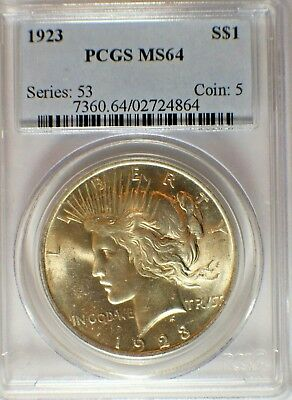 1923 Silver Peace Dollar $1 Coin PCGS MS-64  #130